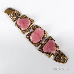 Gilt-brass Hook Bracelet with Three Tourmaline Insets