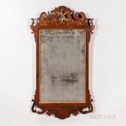 Mahogany Veneer Scroll Frame and Gilt Incised Mirror