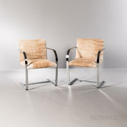 Two Ludwig Mies van der Rohe (German, 1886-1969) for Knoll Flat Bar BRNO Chairs