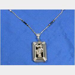 Art Deco Diamond, Rock Crystal and Enamel Pendant Necklace
