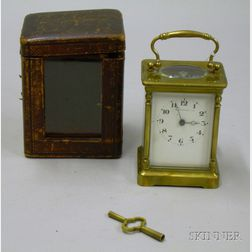 French Carriage Clock with Leather Carrying Case