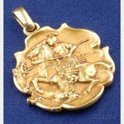 Art Nouveau 18kt Gold Pendant