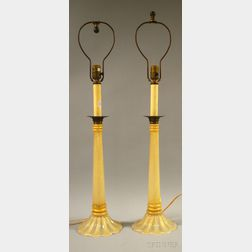 Pair of Italian Murano Art Glass Candlestick-form Lamps