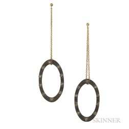 18kt Gold, Oxidized Gold, and Cognac Diamond Earrings, Retailed by Barney's