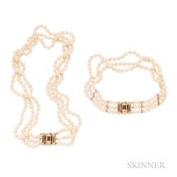 Two 18kt Gold, Cultured Pearl, and Diamond Three-strand Pearl Necklaces, Julius Cohen