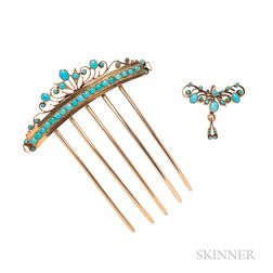 Antique Gold and Turquoise Hair Comb