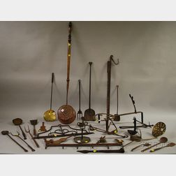 Group of Assorted of Wrought Iron and Metal Domestic and Hearth Items