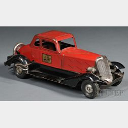 "Pressed Steel ""Fire Chief"" Coupe Automobile Toy"