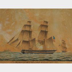 Jacob Petersen (Danish, 1774-1854)      Brig Oregan of Boston Going Into Elsinore Road Thomas Leach Commander 1832.
