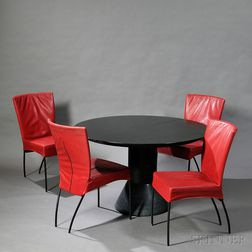 Four Spica Side Chairs and a Menhir-style Dining Table