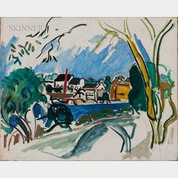 Jason Berger (American, 1924-2010)    Village by a River