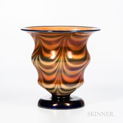 "Imperial Art Glass ""Free Hand"" Iridescent Vase"