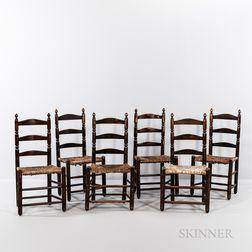 Set of Six Maple and Ash Slat-back Chairs