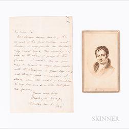 Irving, Washington (1783-1859) Autograph Letter Signed and Carte-de-visite Photograph.