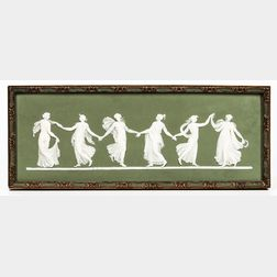 Wedgwood Green Jasper Dip Dancing Hours   Plaque