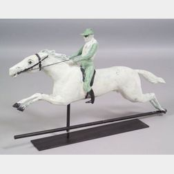 Painted Molded Copper Horse and Jockey Weather Vane