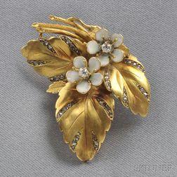 18kt Gold, Enamel, and Diamond Clip/Brooch