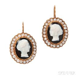 Antique Gold, Hardstone Cameo, and Split-pearl Earrings