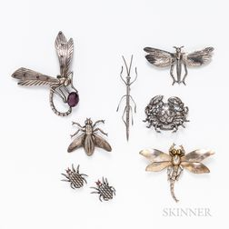 Group of Silver Insect Brooches