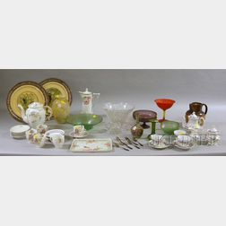 Eight Assorted Art Glass Table Items and Twenty-nine Pieces of Ceramics