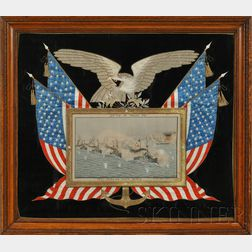 """Silk Needlework and Painted Picture of the """"Battle of Manila Bay,"""""""