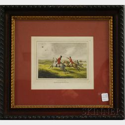 Framed Hand-colored 19th Century English Engraving Heron Hawking
