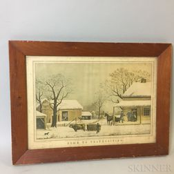 "Framed Currier & Ives ""Home to Thanksgiving"" Reproduction"