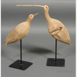 Two Carved Wooden Shorebirds