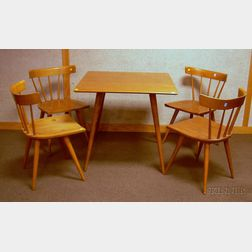 Modern Paul McCobb Planner Group Square Maple Dining Table and a Set of Four Chairs