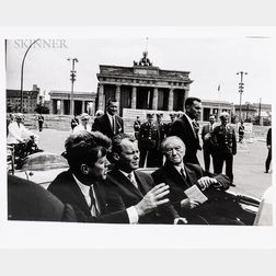 Will McBride (American, 1931-2015)  John F. Kennedy, Willy Brandt, Konrad Adenauer after visiting the Wall at the Brandenb...