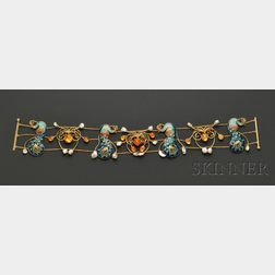 Arts & Crafts Enamel, Fire Opal and Freshwater Pearl Dog Collar, probably England