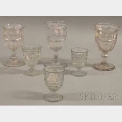 Six Pieces of Colorless Pressed Ashburnton Pattern Glass Stemware.