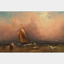 Charles Henry Gifford (American, 1839-1904)      Schooner Rounding a Buoy