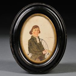 American School, 19th Century Small Portrait of a Gentleman Seated in a Windsor Armchair Holding a Massachusetts Lottery Ticket. Inscri