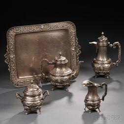 Five-piece Continental .800 Silver Tea and Coffee Service
