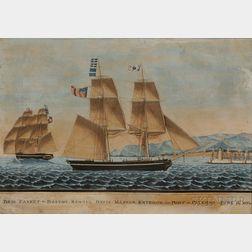 Italian School, 19th Century      BRIG CASKET BOSTON Samuel Davis Master Entering the Port of Palermo June 12 1834.