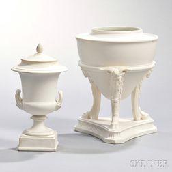Two Wedgwood White Jasper Vases