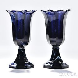 Pair of Marbelized Blue Pressed Glass Tulip Vases