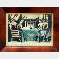 Framed Nathaniel Currier Hand-colored Engraving Reading The Scriptures