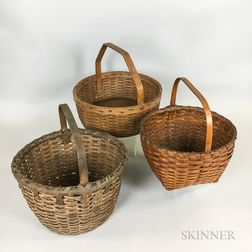 Three Woven Splint Handled Baskets