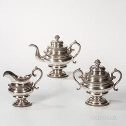 Three-piece Coin Silver Tea Service