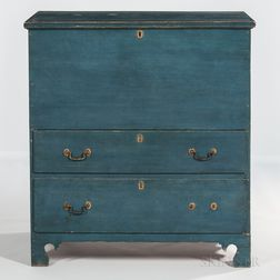 Blue-painted Blanket Chest over Two Drawers