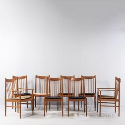 Eight Arne Vodder (Danish, 1926-2009) for Sibast Dining Chairs