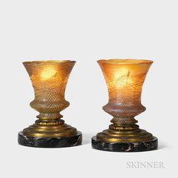 Pair of Henry Winter Art Glass Boudoir Lamps