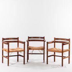 Three Borge Mogensen (Danish, 1914-1972) Armchairs with Woven Seats