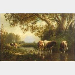 William M. Hart (American, 1823-1894)  Cattle Watering