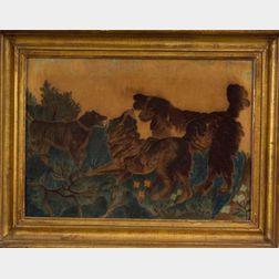 American School, 19th Century    Three Dogs in a Landscape.