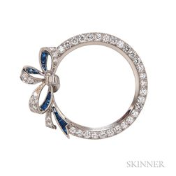 Platinum, Sapphire, and Diamond Circle Brooch