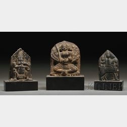 Three Carved Stone Stelae