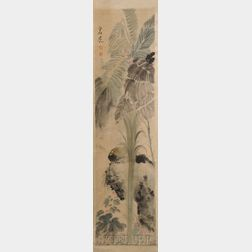 Hanging Scroll Depicting a Bird and Lotus Pond